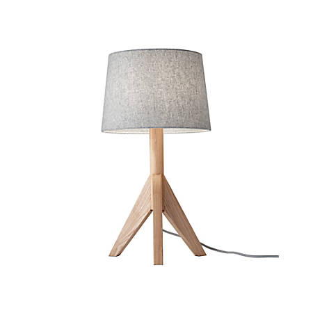 "Adesso® Eden Table Lamp, 24 1/2""H, Gray Shade/Natural Ash Base"