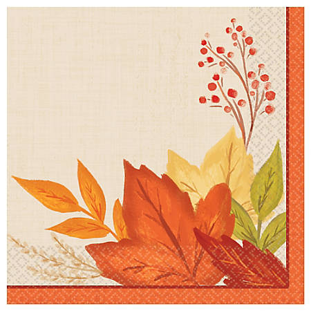 """Amscan Autumn Fall Foliage Paper Beverage Napkins, 5"""" x 5"""", 16 Per Pack, Case Of 6 Packs"""