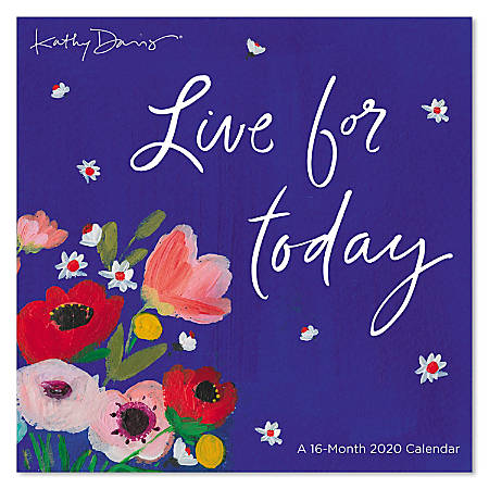 "Mead® Kathy Davis Mini Monthly Wall Calendar, 7"" x 7"", Live For Today, January to December 2020, ODMN73-28"