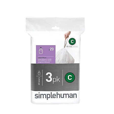 simplehuman Custom-Fit 0.03-mil Can Liners, 2.6 - 3.2 Gallons, White, Pack Of 240