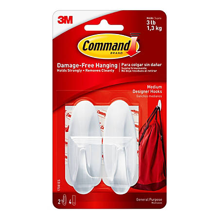 3M™ Command™ General Purpose Hooks, Designer, Medium, 3-Lb Capacity, Pack Of 2