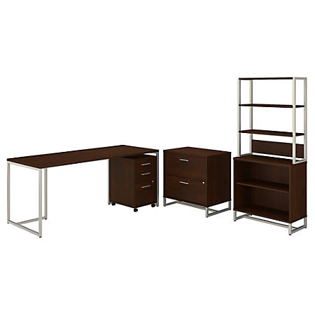 "kathy ireland® Office by Bush Business Furniture Method 72""W Table Desk With File Cabinets And Bookcase, Century Walnut, Standard Delivery"