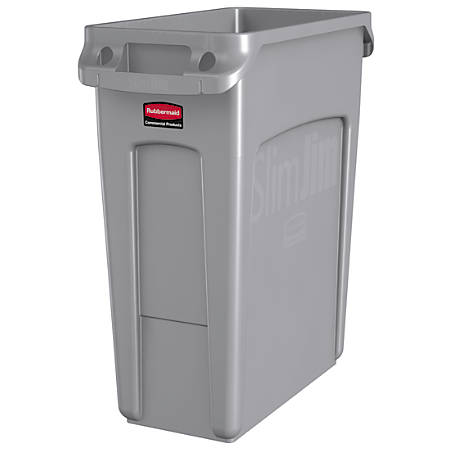 "Rubbermaid® Slim Jim® Rectangular Plastic Vented Waste Container, 16 Gallons, 25""H x 11""W x 22""D, Gray"