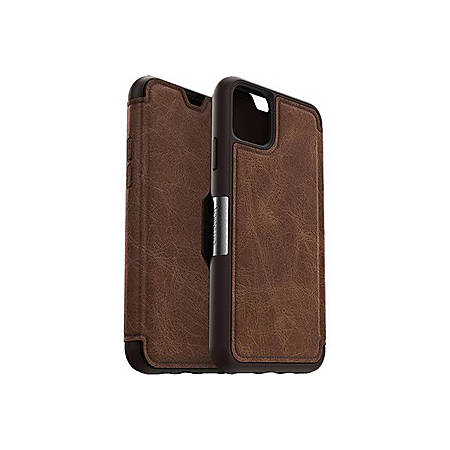 OtterBox Strada Carrying Case (Wallet) Apple iPhone 11 Pro Max - Espresso Brown - Drop Resistant - Genuine Leather, Metal Latch, Polycarbonate Shell