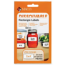 MACO Dissolvable Labels MACM83400 4 W
