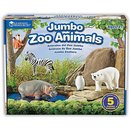 Learning Resources Jumbo Figures, Zoo Animals, Pack Of 5