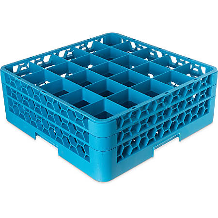 "OptiClean 25-Compartment Glass Rack With 2 Extenders, 19 7/8""H x 19 7/8""W x 7""D, Blue"