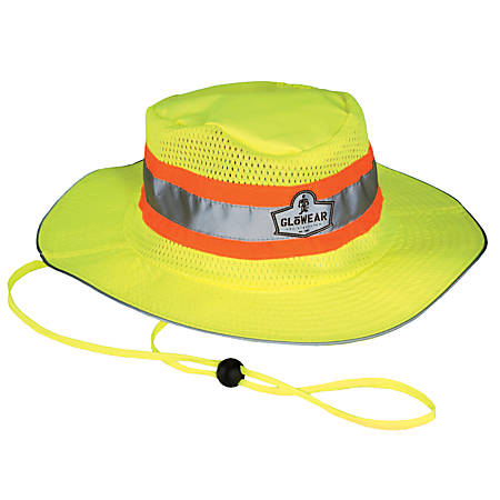 Ergodyne GloWear Hi-Vis Polyester Ranger Hat, Small/Medium, Lime