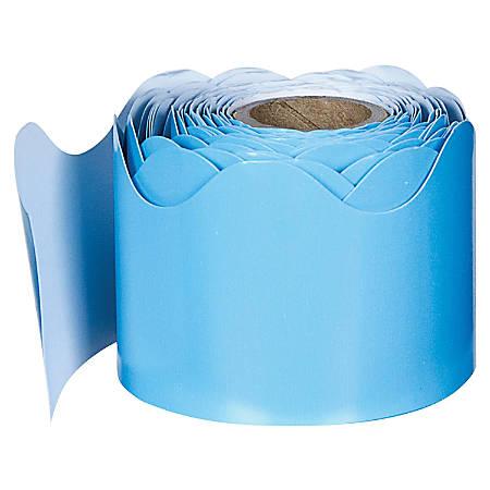 "Carson-Dellosa Plain Continuous-roll Scalloped Border - (Scalloped) Shape - 2.25"" Width x 432"" Length - Light Blue - 1 Roll"