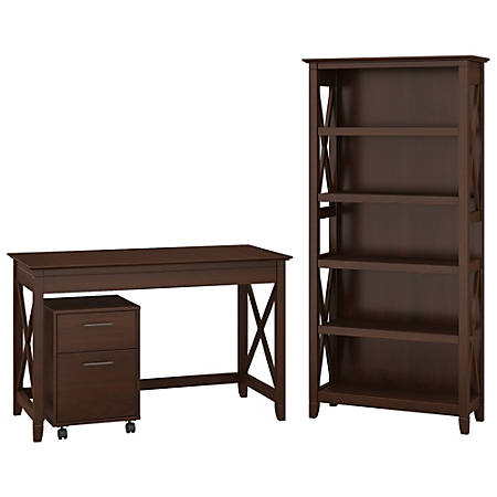 "Bush Furniture Key West 48""W Writing Desk With 2 Drawer Mobile File Cabinet And 5 Shelf Bookcase, Bing Cherry, Standard Delivery"