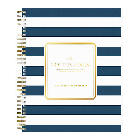 """Day Designer Daily/Monthly Planner, 10"""" x 8"""", Navy Stripe Frosted, January To December 2020, 103622"""