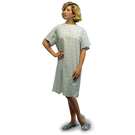 DMI® Convalescent Gowns With Back Tape Ties, Adult, White Print, Pack Of 12
