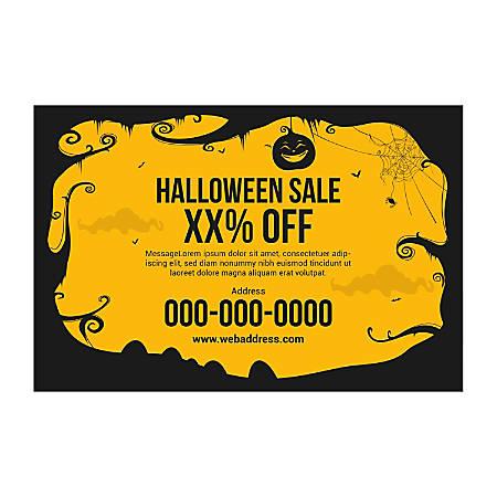 Window Decal Template, Black Halloween-Border, Horizontal