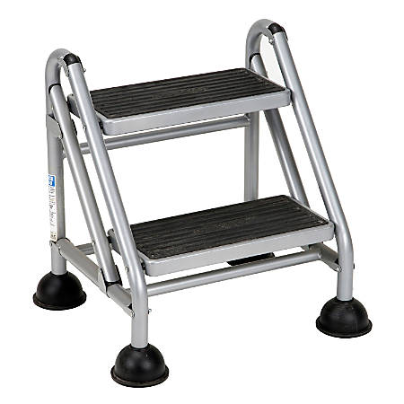 Cosco® Rolling Commercial Step Stool, 2-Step, 19 7/10 Spread, Black/Platinum