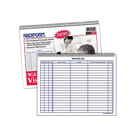 "Rediform Visitor's Log Book - 50 Sheet(s) - Wire Bound - 1 Part - 11"" x 8 1/2"" Sheet Size - White Sheet(s) - Blue Print Color - Recycled - 1 Each"