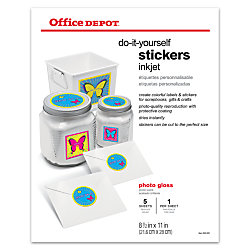 Office Depot Brand Inkjet Do It Yourself Stickers X Pack - Office depot window decals template