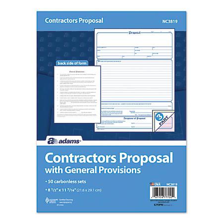 "Adams® Contractor Proposal Unit Sets, 3-Part, 10 15/16"" x 8 1/2"", Multicolor, Pack Of 50"