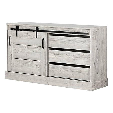 "South Shore Harma 18-1/4""D Vertical 1-Drawer Buffet With Storage, Seaside Pine"