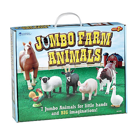 Learning Resources® Jumbo Farm Animals, Grades Pre-K - 3, Set Of 7