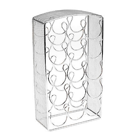 """Mind Reader 30-Capacity Metal Mesh K-Cup® Pods Carousel, 12""""H x 6 9/16""""W x 3 1/8""""D, Silver"""