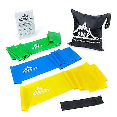 Black Mountain Products Therapy Exercise Bands, 5' Long, Assorted Colors, Set Of 3