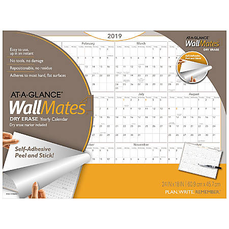 "AT-A-GLANCE® WallMates® Erasable Yearly Calendar, 24"" x 18"", January to December 2019"