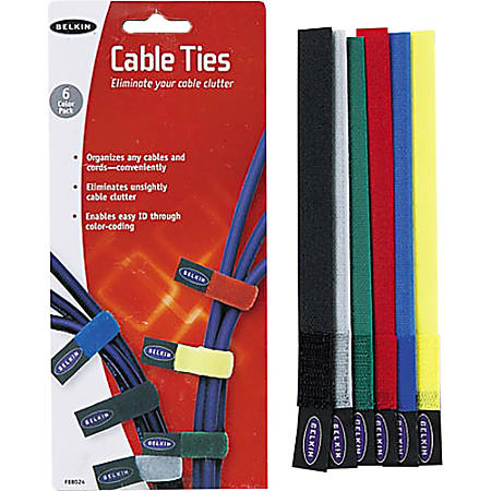 "Belkin® Nylon Tie Wraps, 8"", Assorted Colors, Pack Of 6"