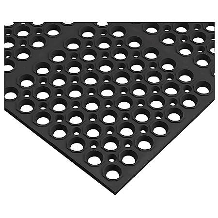 Genuine Joe Versa-Lite Antimicrobial 50% Recycled Rubber Mat, 3' x 5', Black