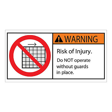 """Tape Logic Durable Rectangle Safety Labels, DSL516, 2"""" x 4"""", Warning Do Not Remove Guard, Roll Of 25 Labels"""