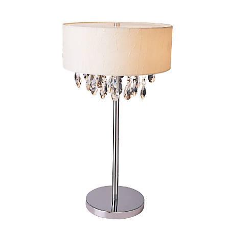"Elegant Designs Romazzino Cascading Crystal Table Lamp, 22 1/4""H, White Shade/Chrome Base"