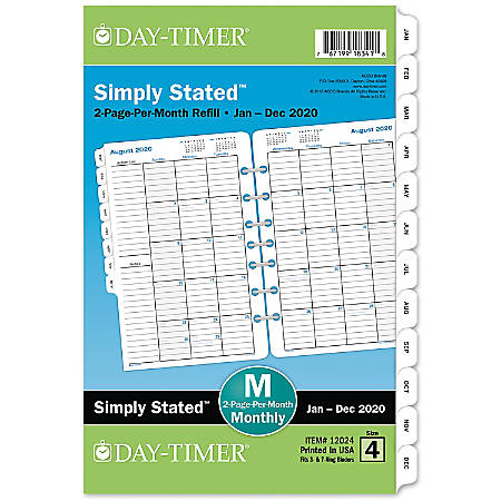 "Day-Timer® Classic Monthly Refill, Desk Size, 5-1/2"" x 8-1/2"", January to December 2020"