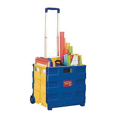 "Educational Insights® Teacher Tote-All™ Plastic Cart, 16 3/4""H x 15 3/4""W x 14 1/4""D, Blue/Yellow,"