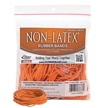 "Alliance® Non-Latex Rubber Bands, #33 (3 1/2"" x 1/8""), Orange, 1/4 Lb. Bag"