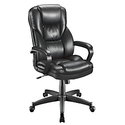 """Realspace® Fosner High-Back Bonded Leather Chair, 48""""H x 28 3/8""""W x 30 7/10""""D, Black"""