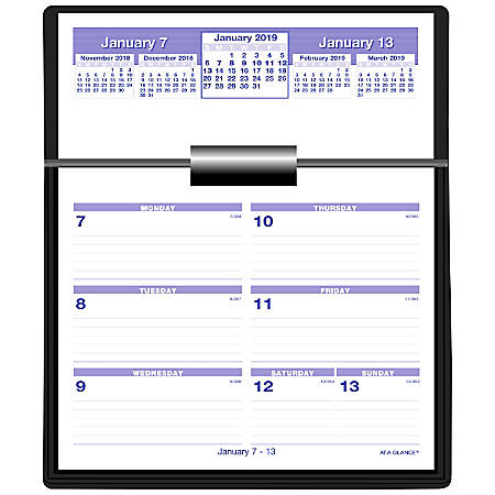 "AT-A-GLANCE® Flip-A-Week Weekly Desk Calendar And Base Set, 5 5/8"" x 7"", January to December 2019"