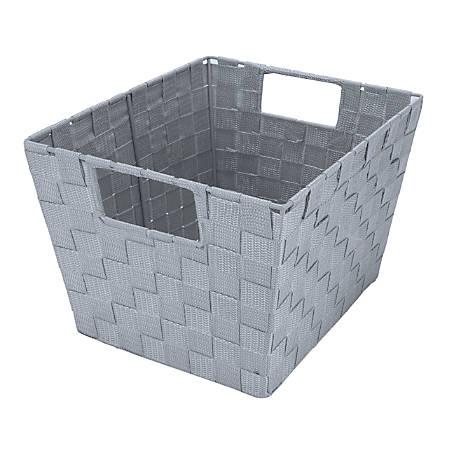 "Realspace™ Medium Woven Storage Tote, 10"" x 12"" x 8"", Gray"