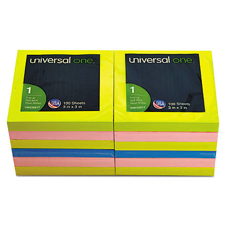 "Universal® Fan-Folded Pop-Up Notes, 3"" x 3"", Assorted Neon Colors, 100 Sheets Per Pad, Pack Of 12 Pads"