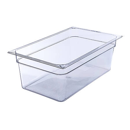 "StorPlus Full-Size Plastic Food Pans, 8""H x 12 3/4""W x 20 3/4""D, Clear, Pack Of 6"