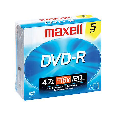 Maxell® DVD-R Recordable Discs, 4.7GB/120 Minutes, Pack Of 5