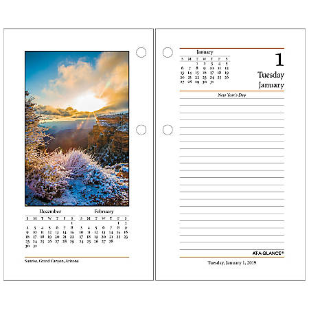 """AT-A-GLANCE® Daily Photographic Loose-Leaf Desk Calendar Refill, 3 1/2"""" x 6"""", January 2019 to December 2019"""