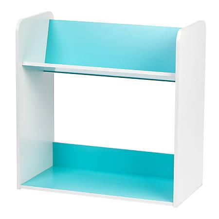 "IRIS 24""H 2-Tier Tilted Shelf Book Rack, Blue/White"