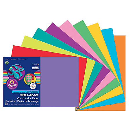 """Tru-Ray® Construction Paper, 50% Recycled, Assorted Colors, 12"""" x 18"""", Pack Of 50 Sheets"""