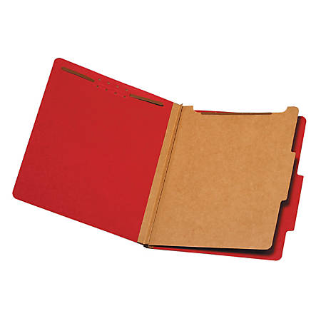 """Pendaflex® Divided Classification Folders, 1 3/4"""" Expansion, Letter Size, 30% Recycled, Dark Red, Box Of 10"""