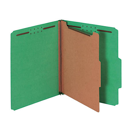 """Pendaflex® Divided Classification Folders, 1 3/4"""" Expansion, Letter Size, 30% Recycled, Dark Green, Box Of 10"""