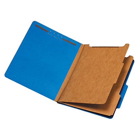"Pendaflex® Standard Classification Folders With Fasteners, 8 1/2"" x 11"", Letter Size, 60% Recycled, Dark Blue, Box Of 10"