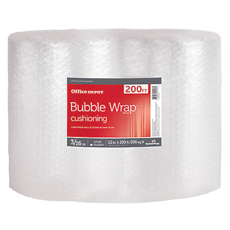 """Office Depot® Bubble Roll, 3/16"""" Thick, Clear, 12"""" x 200'"""