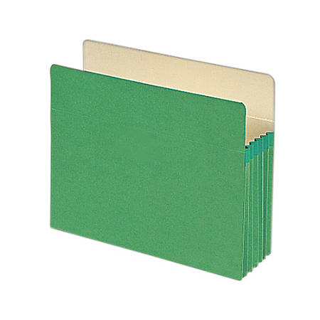 "Smead® Color File Pockets, 5 1/4"" Expansion, 9 1/2"" x 11 3/4"", Green, Pack Of 10"