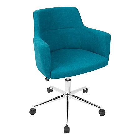 LumiSource Andrew Contemporary Adjustable Fabric Office Chair, Teal/Chrome