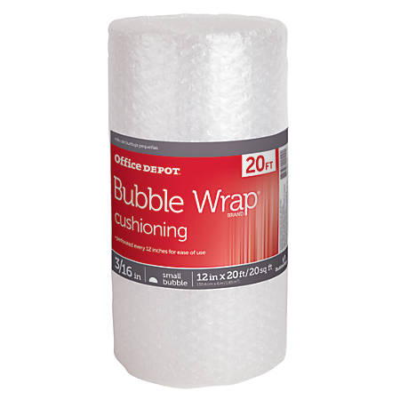 """Office Depot® Brand Bubble Roll, 3/16"""" Thick, Clear, 12"""" x 20'"""