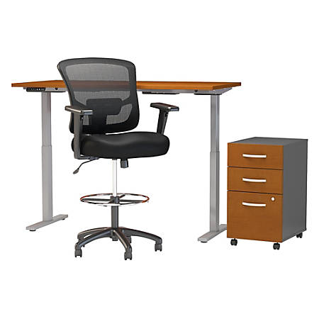 """Move 60 Series by Bush Business Furniture 60""""W Height Adjustable Standing Desk With Storage And Drafting Chair, Natural Cherry, Premium Installation"""